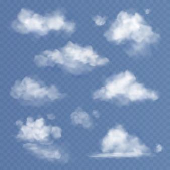 Realistische wolke. weiße wolken flauschiger himmelsnebel, der isoliertes set trübt