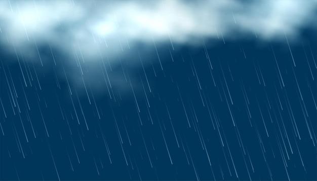Realistische wolken mit fallendem regen