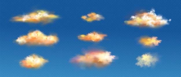Realistische wolken von gelben oder orangefarbenen farben