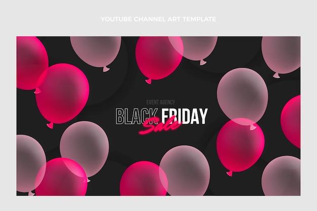 Realistische youtube-kanalkunst des schwarzen freitags mit rosa luftballons
