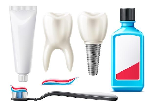 Realistische zähne und mundpflegeprodukte eingestellt Premium Vektoren