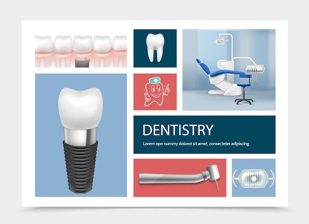 Realistische zahnmedizinische elementzusammensetzung mit zahnimplantaten zahnmaschinenlampe zahnarztarbeitsplatz isolierte illustration