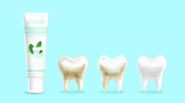 Realistische zahnpflege-aktion
