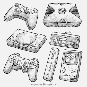 Realistische zeichnungen von verschiedenen konsolen