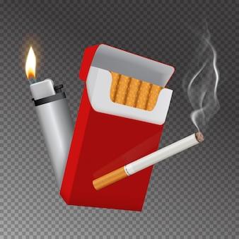 Realistische zigarettenschachtel und feuerzeugzusammensetzung