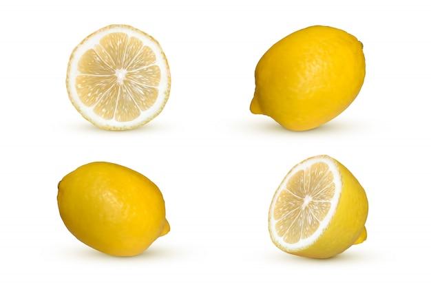 Realistische zitrone isoliert. frische gelbe früchte