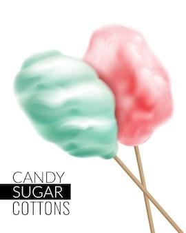 Realistische zuckerwatte mit text und bildern von bunten zuckerwatteprodukten