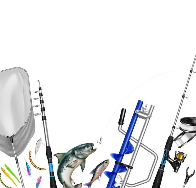 Realistische zusammensetzung der angelausrüstung mit bildern von netz und haken von angelruten