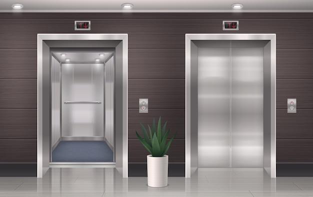 Realistische zusammensetzung der aufzugstür mit vorderansicht der aufzugshallentüren mit seitenpfosten und hauspflanzenillustration