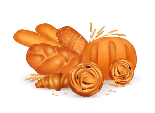 Realistische zusammensetzung der farbigen brotbäckerei mit croissants-baguettebrötchen auf weißer hintergrundillustration
