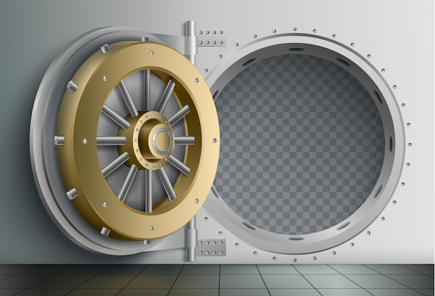 Realistische zusammensetzung des banktresors mit blick auf den sicheren lagereingang mit massiver kreisförmiger verriegelungstür