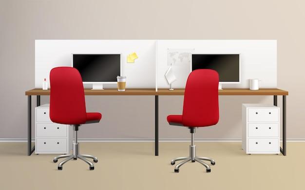 Realistische zusammensetzung des büroinnenraums