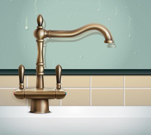 Realistische zusammensetzung des hahns mit ansicht der badezimmerwand und des bronzehahnbildes der klassischen art der weinlese