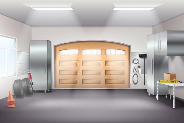 Realistische zusammensetzung des modernen geräumigen garageninnenraums mit werkzeugspeicherschränken pegboard workbench reifen schiebetür vektor-illustration