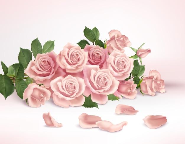 Realistische zusammensetzung mit bündel der schönen rosa rosen und der blütenblattillustration