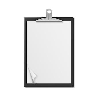 Realistische zwischenablage mit leerem papier im format a4