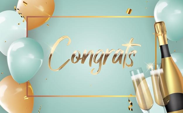 Realistischer 3d ballon gratuliert hintergrund mit flasche champagner und einem glas
