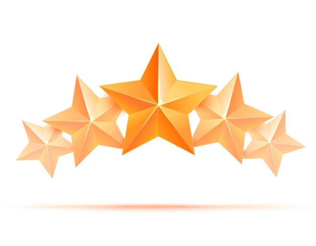 Realistischer 3d-goldstern. preisträger. fünf goldene sterne. gut gemacht. beste belohnung. bulk kupfer stern. einfache 5 sterne. die auszeichnung für die beste wahl. premiumklasse.
