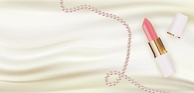 Realistischer 3d-lippenstift auf weißer seide mit perlendesignschablone des modekosmetikprodukts