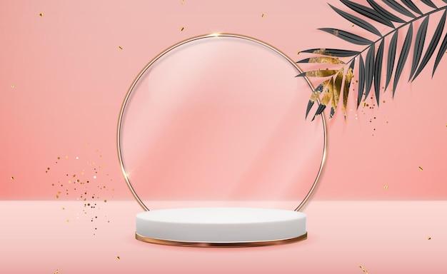 Realistischer 3d roségold-sockel mit goldenem glasringrahmen über natürlichem rosa pastellhintergrund. trendy leere podestanzeige
