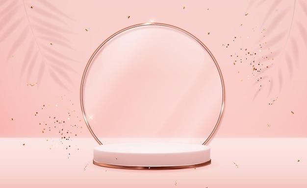 Realistischer 3d roségold-sockel mit goldenem glasringrahmen