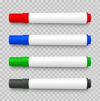Realistischer 3d-satz von markierungsstiften, rot, grün, gelb, schwarz auf transparent