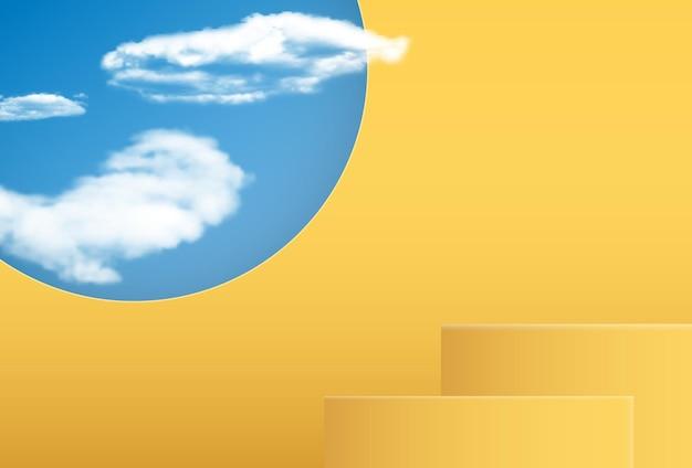 Realistischer 3d-sockel mit bewölktem himmel