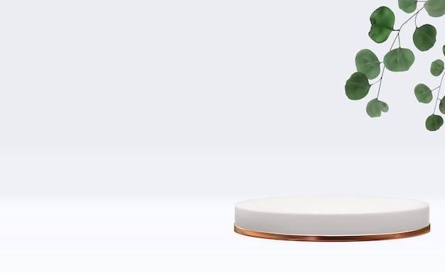 Realistischer 3d-sockel mit eukalyptusblättern