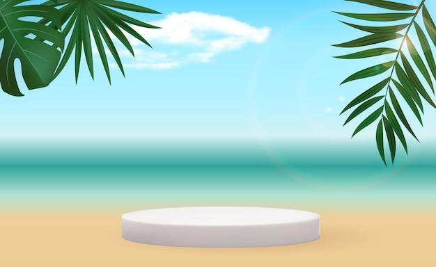 Realistischer 3d sockel über sonnigem hintergrund mit palmblatt trendy leere podiumanzeige