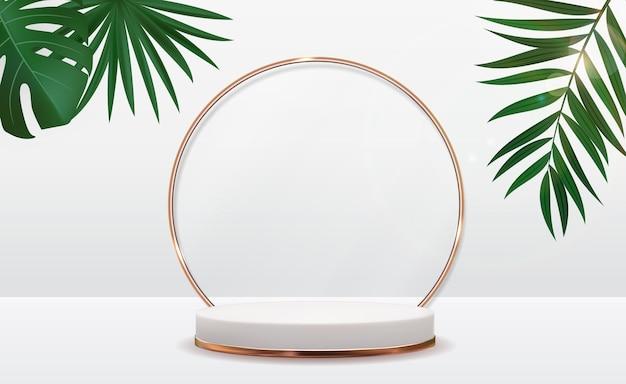 Realistischer 3d sockel über sonnigem hintergrund mit palmblatt