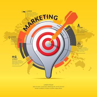 Realistischer 3d-symbolkartenzeiger. marketing business infografiken und diagramm mit weltkarte auf hintergrund.