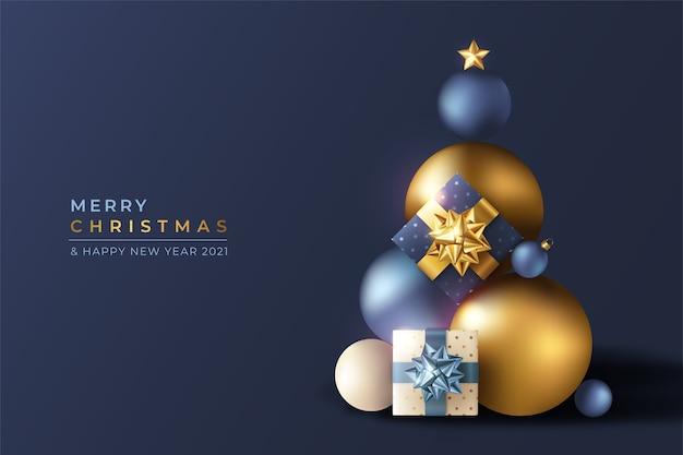 Realistischer 3d weihnachtshintergrund mit blauen und goldenen verzierungen