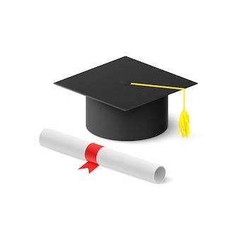 Realistischer abschlusshut und gerolltes diplom mit rotem band.