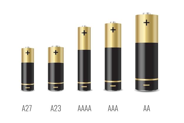 Realistischer alkalibatteriesatz mit unterschiedlicher größe, isoliert auf weiß