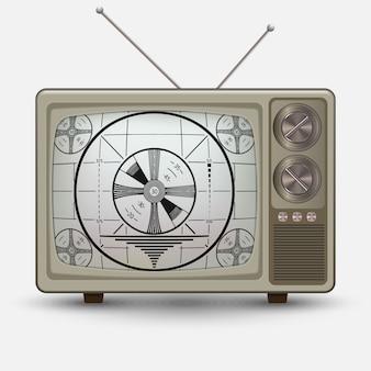 Realistischer alter vintage fernseher. retro-telefonie ohne signaltest. abbildung auf weißem hintergrund