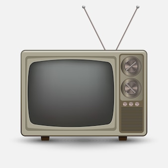 Realistischer alter vintage fernseher. retro televesion. abbildung auf weißem hintergrund