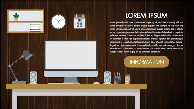 Realistischer arbeitsplatzdesktop auf hölzerner hintergrundwand. schreibtisch für büro