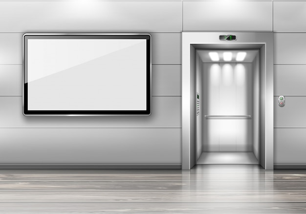 Realistischer aufzug mit offener tür und tv-bildschirm