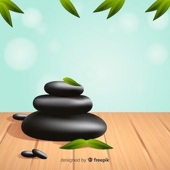 Realistischer badekurorthintergrund mit steinen