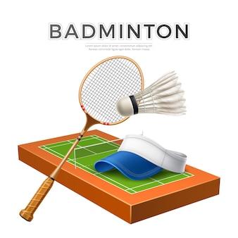 Realistischer badmintonschläger mit federball und tenniskappe auf spielplatz vector sport design