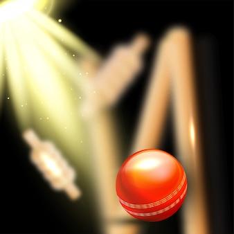 Realistischer ball, der die wicket-stümpfe schlägt