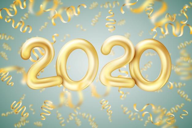 Realistischer ballonhintergrund des neuen jahres 2020