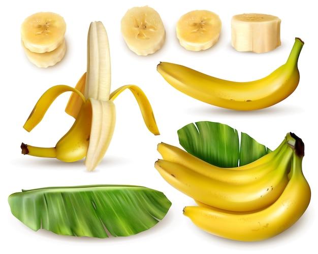 Realistischer bananensatz mit verschiedenen lokalisierten bildern der frischen bananenfrucht mit hautblättern und -scheiben