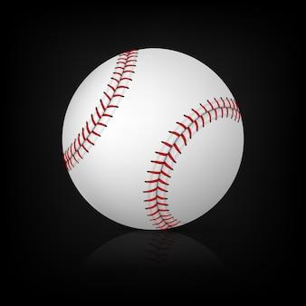 Realistischer baseball auf schwarzem hintergrund mit reflexion. illustration.