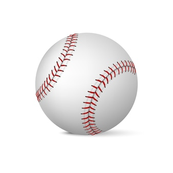 Realistischer baseball auf weißem hintergrund. illustration.