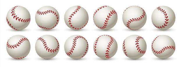 Realistischer baseballball. leder 3d-softballball.