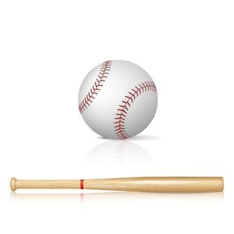 Realistischer baseballschläger und baseball mit reflexion auf weißem hintergrund