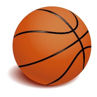 Realistischer basketballgegenstand auf weißem hintergrund
