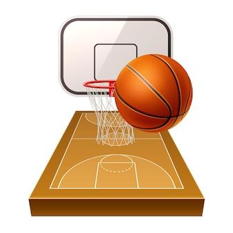Realistischer basketballplatz mit orangefarbenem ball und korb mit schild