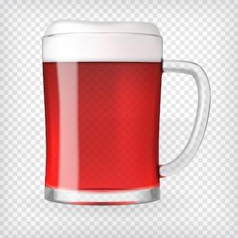 Realistischer bierglasbecher mit rotem bier und schaum